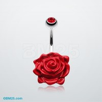 Glossy Rose Belly Button Ring