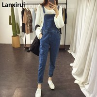 2018 New Women Ripped Denim Jumpsuits Casual Sexy Stretch Romper Simple Denim Pencil Overalls Stretch Slim Dungarees