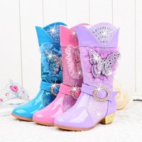 Cowgirl  Knee-High Glitter Sequins   Rhinestone Princess High-Heeled Boots   Butterfly Style   Pick your color