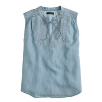 J.Crew Womens Embroidered Tassel Top In Chambray