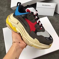 Simple-Balenciaga Men's Embroidery Leisure Sports Shoes BLUE BLACK RED Shoes Top Quality 7US  8 US,9   US,10 US,11 US