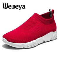 Weweya Outdoor Running Shoes for Women 2018 Sock Sneakers Breath Air Mesh Athletic Shoe Jogging Trainers Zapatillas Size 35-42