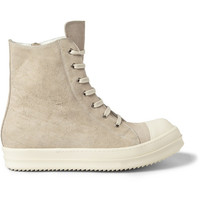 Rick Owens - Ramones Treated-Leather Sneakers | MR PORTER