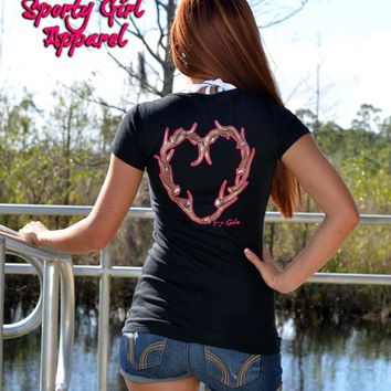 this black with neon pink heart antler deer hutnng womens Cute and sexy hunting clothing will have you dressed to kill in sporty girl Apparel