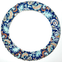 Blue Paisley Steering Wheel Cover,Made in USA,Cute Girly Cotton Car Wheel Cover, Personalized Gift