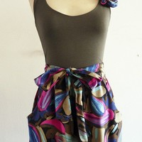 Blue and purple printed sleeveless dress ss1001 by chrystalshop