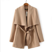 Loose long-sleeved  lapel coat