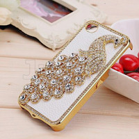 Crystal Peacock leather Skin Protector Cover Case for i Phone 4 4S IA1126