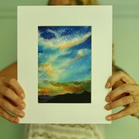 Watercolor Painting, Landscape Painting, Watercolor Art, Watercolor Landscape, 5x7 Art, Sky Painting, Night Sky Watercolor, Matted Art Print