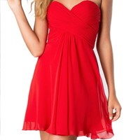 Fashion Plaza Short Strapless Cocktail Dress D0362 (US12, Red)