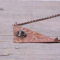 copper geometric necklace triangle pendant modern necklace pearl necklace friend birthday gift for her metalsmith jewelry