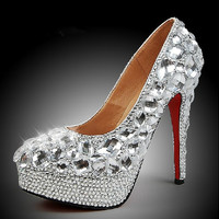 Luxury Diamond Clear Crystals, Luxury Closed Toes Bridal Heels Wedding Shoes  Bridal shoes
