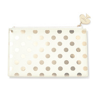 kate spade new york: pencil pouch - gold dots
