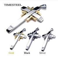 Fashion 316L Stainless Steel Men's Cross Necklace Silver / Black / Gold Free Shipping