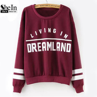 SheIn Street Wear Pullovers Women's Casual Tops Long Sleeve Wine Red Round Neck Letters Print Women Sweatshirt