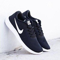 Nike Free RN Flyknit Trending Women Men Stylish Casual Running Sports Shoes Sneakers Black(White Hook) I/A