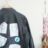 XL UNICORN Patch Vintage Black Denim Jacket~ Jackets & Coats jeans Jacket~ woman girls teenager~ Grunge Hipster Kawaii Kitsch Clothing Denim