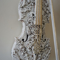 Violin musical instrument art wall hanging white French Nordic ornate roses scroll design shabby cottage chic home decor anita spero design