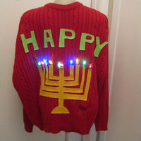 LIGHTED HANUKKAH Will Make any Size Small Medium Large Xlarge Sweater Ugly Christmas Hanukkah Sweater party Ships Priority Mail