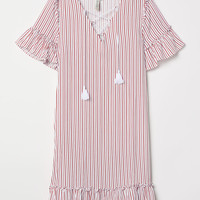 Dress with Lacing - White/red striped - Ladies | H&M US