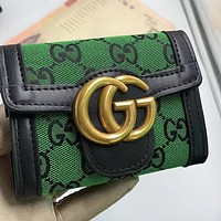 GG embroidered letters denim stitching color clamshell G wallet clutch Bag Green