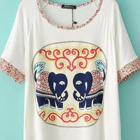 Elephant Loose T-shirt With Little Flower Sleeve&Neck
