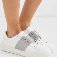 Valentino - Patent-paneled leather sneakers