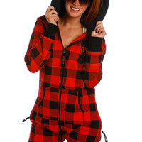 The Notorious Z.I.P. - Women's Red Lumberjack Plaid Onesuit