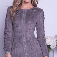 LOUIS SUEDE DRESS IN GREY