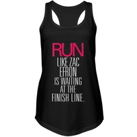 Run Zac Efron Finish Line: Custom Junior Fit Next Level Racerback Terry Tank Top - Customized Girl