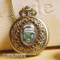 Vintage Glass Pocket Watch Necklace with Inspired Slytherin Y135