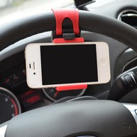 Car Steering Wheel Mount Holder Rubber Car Mount Bracket For IPhone 6 plus 4 5 5S Galaxy S4 S5 GPS HTC MP4 Car Accessories