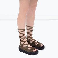 LACE-UP TRACK-SOLED LEATHER SANDALS
