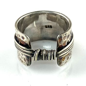 Knotted Silver Sterling Silver Artisan Ring