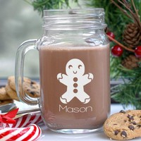 Engraved Gingerbread Mason Jar