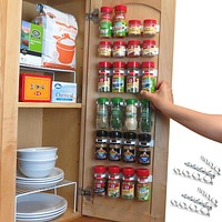 Evelots Spice Organizer-30 Bottle-Strong Hold-Easy Install-No Tool-Set/6 Strip