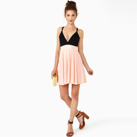 Black And Pink Strap Cross Back Dress