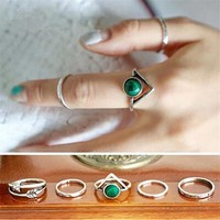 Retro Arrow triangle rings set 5PCS popular Turkish Silver Plated turquoise rings