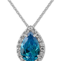 B. Brilliant Sterling Silver Necklace, London Blue Cubic Zirconia Pear Necklace (5-1/2 ct. t.w.)