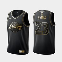 Los Angeles Lakers #23 LeBron James Black Gold Jersey - Best Deal Online