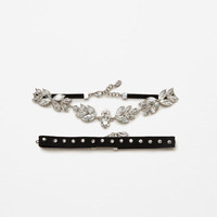 2-PACK OF SHINY FLORAL CHOKERSDETAILS
