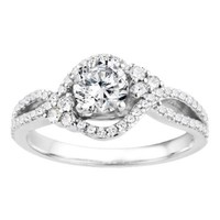 Silver Bypass Halo Promise Ring with CZ (1.18 ct. twt.)
