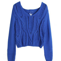 Blue Knitted Cropped Sweater