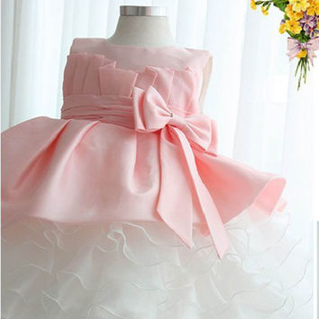 Lovely Kids Girls Bowknot Tulle Dress for Prom Party Princess Ball Gown Baby Formal Dress NW