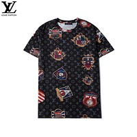 LV 2020 new personality badge printed round neck half-sleeved T-shirt