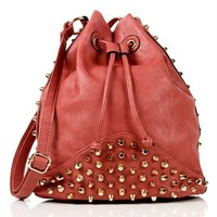Pink Studded Bucket Bag