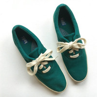 Vintage Keds Sneakers - Green Linen Keds - Womens Keds - Size 8.5