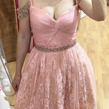 Baby Pink V Neck Beads Lace Short Homecoming Dress