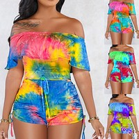 Summer tie-dye printing one-shoulder cropped top with lace-up shorts two-piece suit
