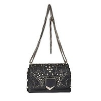 Jimmy Choo Women's LOCKETTPETITEGEQBLACKMIX Black Leather Shoulder Bag